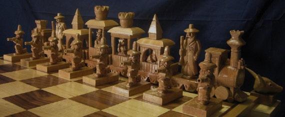 Chess Set Train Robbery Chess Set On Etsy Custom Chess Sets Etsy