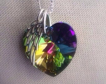 Angel Wing Necklace, Rainbow Necklace - Memorial Gift - Loss of Child Gift - Mothers Day Gift