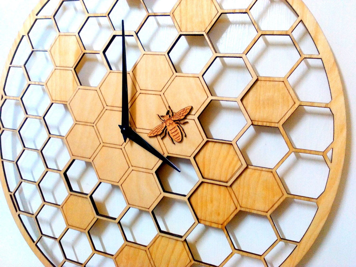 Bee Cells Laser cut WALL CLOCK 15.7 Diameter Large | Etsy