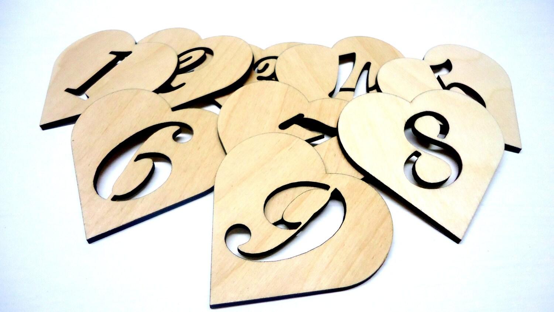 Coeurs en bois avec num ro d couper des faveurs de mariage etsy - Modele de coeur a decouper ...