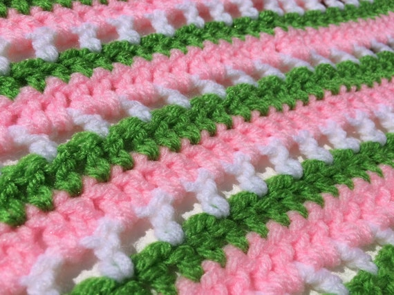 Crochet baby blanket light pink white striped car seat blanket photo prop ready to ship free shipping