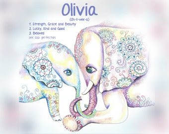 New Baby Gift Art, Elephant Nursery, Indian Elephant Wall Art, Baby Girl Name Gifts, Woodland Nursery Art, Personalized Baby Gift