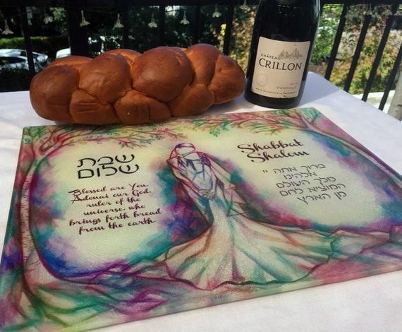 Shabbat Wedding Gift Chanukah Customized Glass Challah Board Hannukah Gift for Newlyweds Hanukkah Gift for Couple custom cutting board