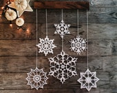 Elegant Christmas decoration - snowflakes mobile - holiday decorations - crochet snowflakes and wood - hygge home decor - unique home decor