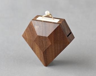 Unique ring box - diamond shape walnut engagement ring box - ring display box by Woodstorming