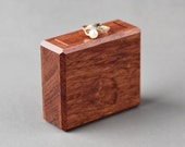 Square rotating ring display box, secret proposal box, minimalist ring case by Woodstorming - ready to ship