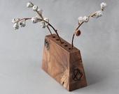 Wabi sabi vase with natural wood knots and cracks - modern minimalist bud vase - hygge home decor
