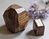 Wood ring box, wooden ring box, proposal ring box, handmade rustic ring box, ring case, ring display box, secret ring box, personalized box