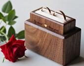 Double ring box - ring bearer box - wedding ring box - ring display box - wedding ring holder