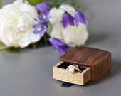 Slim ring box - unique ring box - engagement ring box - wood ring box - proposal ring box -  personalized box - wedding ring box