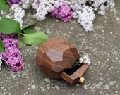 Wedding ring box - ring bearer box - faceted ring box with a drawer by Woodstorming