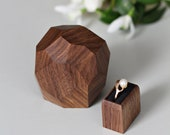 Engagement ring box with black pillow in pull-out drawer - proposal ring box - unique anniversary gift by Woodstorming