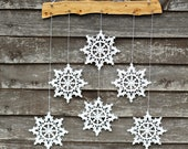 Crochet snowflakes mobile - hygge home decor - Christmas wall hanging - holiday home decor - snowflake and wood ornament