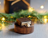Slim engagement ring box - small wood proposal ring box - unique ring box - ring case