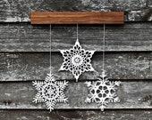 Christmas wall art - Christmas decoration - snowflake mobile - unique home decor - 3 crochet snowflakes and wood ornament