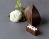 Double ring box - wedding ring box - wooden ring bearer box - wedding ring holder inspired by the sea