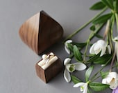 Engagement ring box - proposal box - unique ring box - flower bud shape wood ring box by Woodstorming