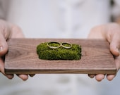 Ring bearer box - ring bearer pillow - wooden wedding ring holder - rustic ring box