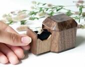 Unique engagement ring box - wood ring box - engagement ring box - proposal box - ring case - personalized gift - keepsake box