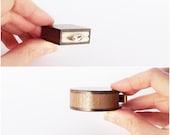 Slim proposal ring box - small engagement ring box - thin wooden box