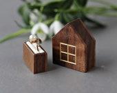 Slim ring box, engraved wood ring box for proposal, unique engagement ring box, secret pocket size house ring box