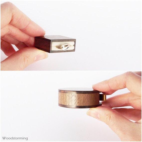 Slim ring box flat ring box Woodstorming proposal ring box personalized gift thin engagement ring box