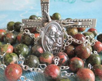 Handmade Catholic Rosary, Round Unakite Gemstone Beads, St Joseph and Sacred Heart of Jesus Center, Beaded Edge Crucifix