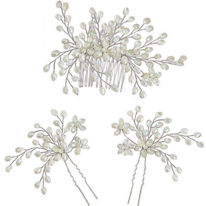 bridal headpiece 3 heapieces bridesmaid set beaded headpiece 3 piece set wedding hair set rose hair pin rose gold comb bridal set