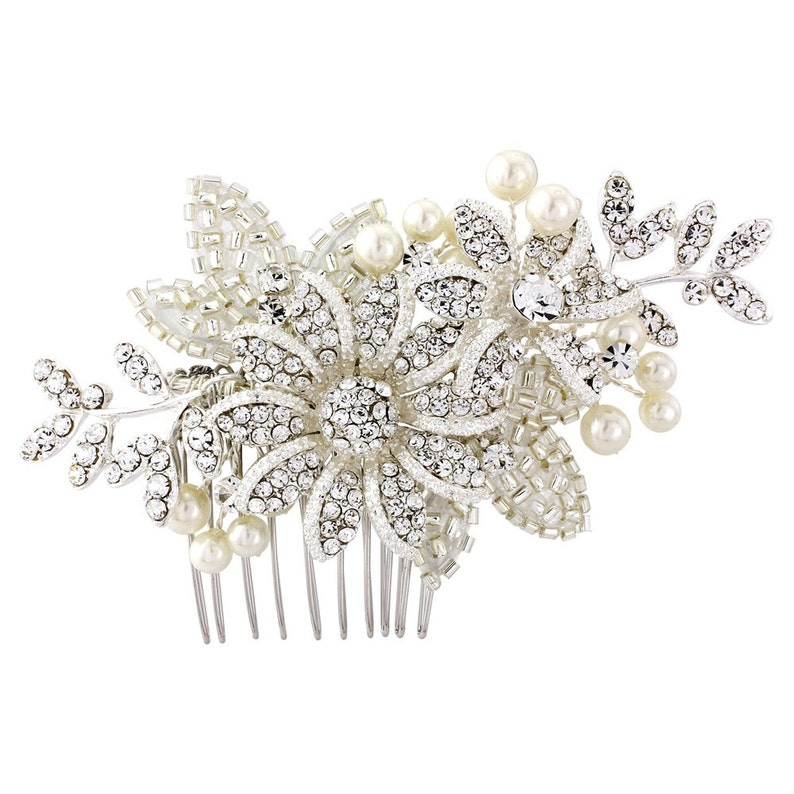 Christmas gift Ivory pearls and embellished beadwork on a silver plated finish Stunning piece Crystal bridal Hair Comb