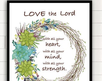 Love the Lord with all your Heart Love the Lord God- Mark 12:30-31  Matthew 22 37 Luke 10 27 Deuteronomy 6 Scripture two sided KEYCHAINS
