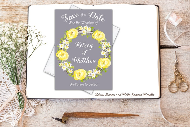 Save the Date Floral Boho Yellow and Gray White Printable Save the Date Summer Wedding Invitation Wreath Set Wedding Suite Wedding Printable