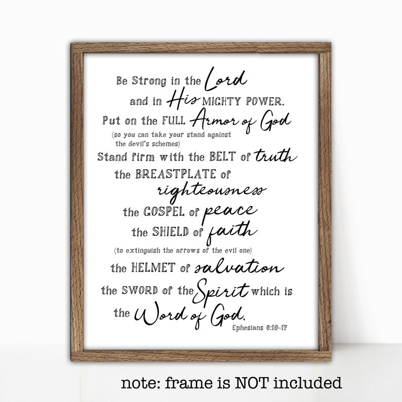graphic relating to Armor of God Printable named Armor of God Scripture Printable or Posted Ephesians 6:10-18 Position upon the Total Armor of God Artwork Scripture Artwork Bible Memory verse