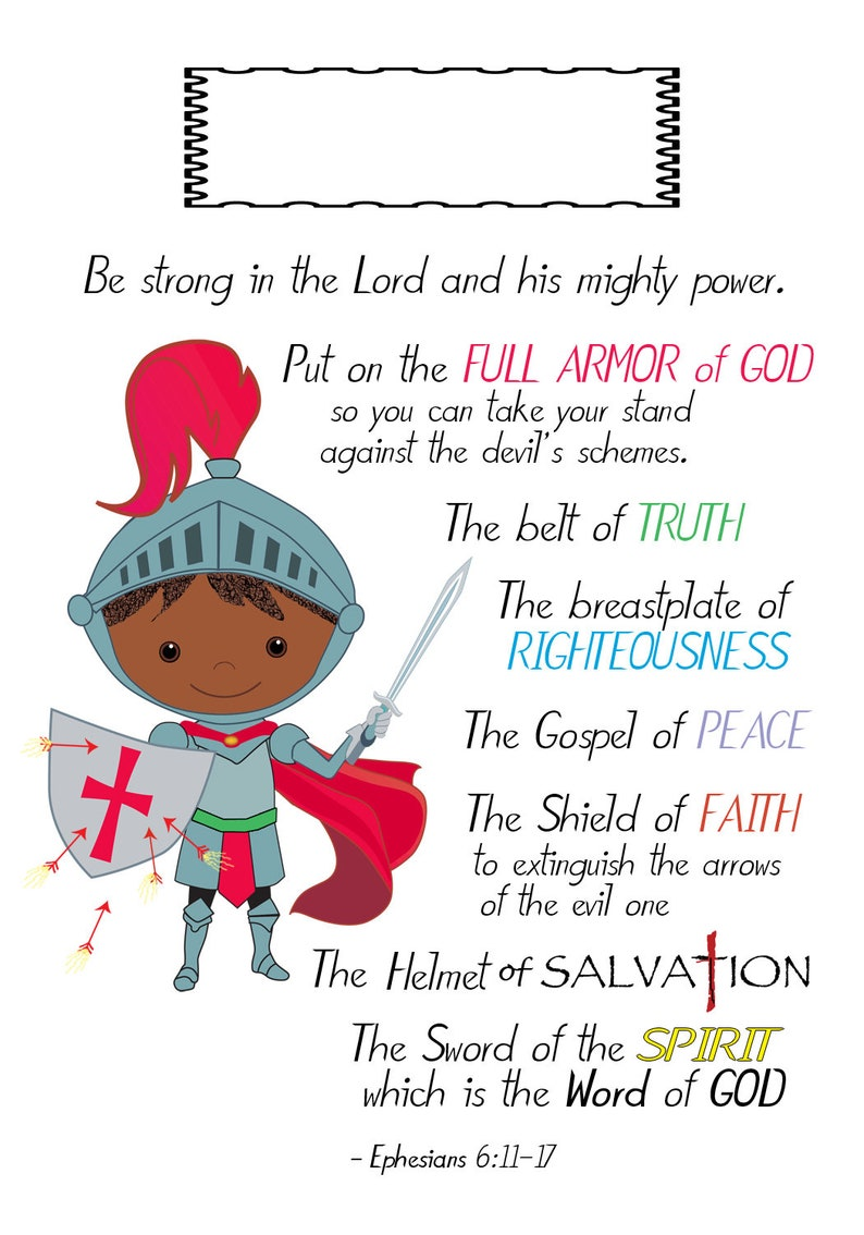 Armor of God Scripture Valentine Sunday School card BLANK name 4 different  designs of BOYS printable Ephesians 6:11-17 Womens Bible Study