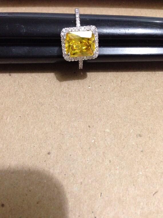 Vintage citrine 925 silver size 9 ring