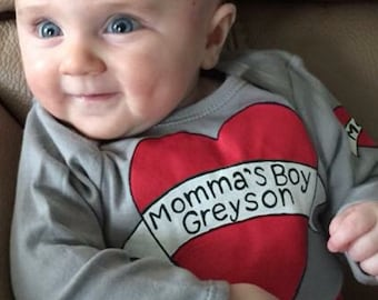 Momma's Boy,Mama's Boy,Mom Tattoo Bodysuit,I love Mom,First Mother's Day,Boy's 1st Valentine's Day,Personalized,Baby Boy Shower Gift