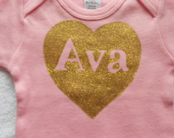Glitter Gold Heart Onesie, Personalized Heart Onesie,Name must be four Letters or Less, Choice of colored onesie, Baby Girl Shower Gift