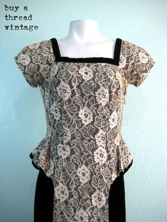 Vintage 50s Velvet and Lace Peplum Evening dress