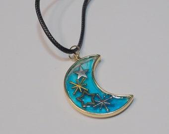 Gold Toned Blue Moon Celestial Pendant