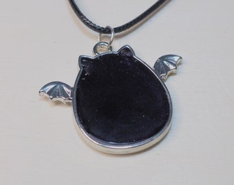 Silver Toned Chibi Black Bat Resin Pendant