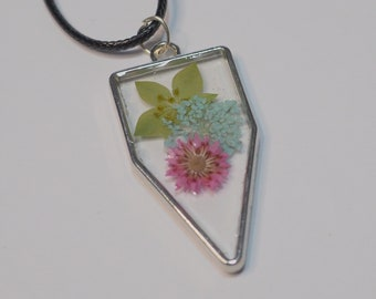 Silver Toned Multi Floral Resin Pendant