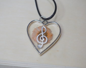 Silver Heart Treble Clef and Flower Pendant