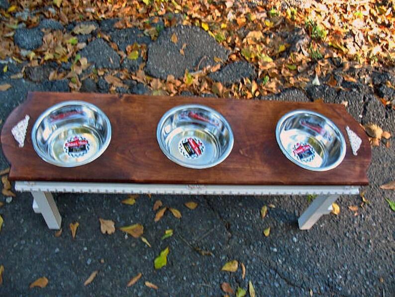 Made To Order White Distressed Base Large Dog Feeding Station Farmhouse style Elevated Dog Feeder English Chestnut 3 Bowls