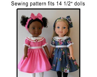 """Dress and headband PDF sewing pattern for 14 1/2"""" dolls"""