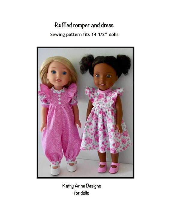 """Sewing Pattern for 14.5/"""" Wellie wishers Doll Clothes by TKCT Romper /& Sundress"""