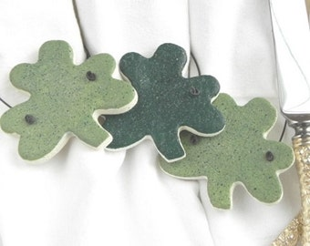 Shamrock Napkin Rings,St Patricks Day Metal Alloy Serviette Buckles for Spring Daily Dinner Party Wedding Banquet 12 PCS
