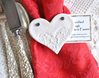 Valentine's Day Napkin Rings Imprinted Salt Dough Hearts Set of 6