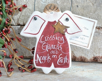 Crossing Guard Gift Ornament Salt Dough Angel Ornament