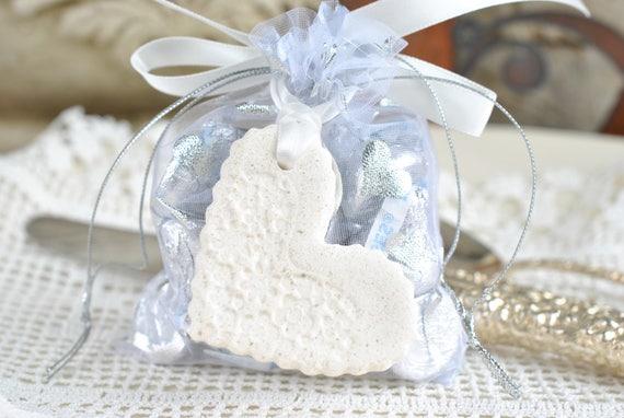 8128f311c Bridal Shower   Wedding Favors Mini Imprinted Salt Dough Heart