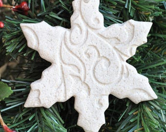 Snowflake Salt Dough Christmas Tree Ornament / Winter Wedding Baptism Favor