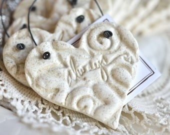 Valentine Imprinted Always Wedding Heart Napkin Rings Salt Dough Ornaments Wholesale Set of 10
